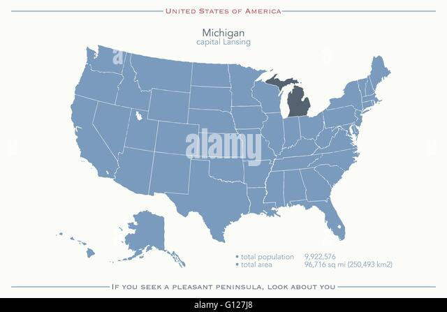 United States Of America Isolated Map And Michigan State Territory Vector Usa Political Map