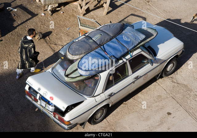 Surfboards On Roof Of Mercedes Taxi, In Taghazhout, Morocco.   Stock Image