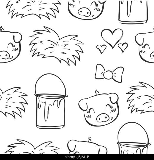 Doodle Pig And Grass Hand Draw
