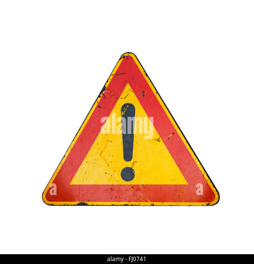 Yellow Triangle Sign Car Stock Photos & Yellow Triangle ...