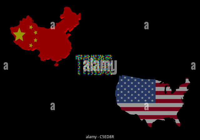 American Map Chinese Usa Flag Stock Photos American Map Chinese - China map in us flag