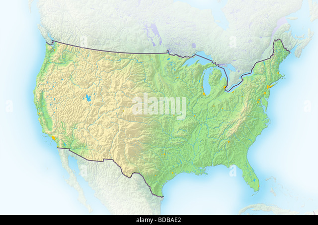 United States Topographic Map Stock Photos United States - Us map of states topographic