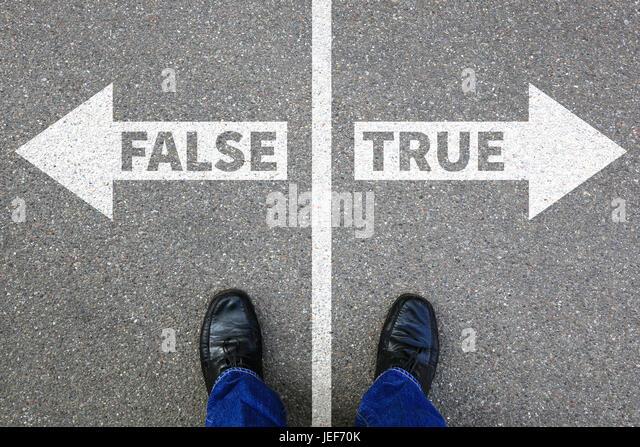 False true truth fake news lie lying facts decision decide choice - Stock Image