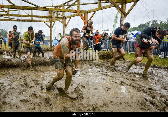 electric wire obstacle tough mudder stock photos