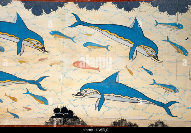 Knossos frescoes stock photos knossos frescoes stock for Dolphin mural knossos