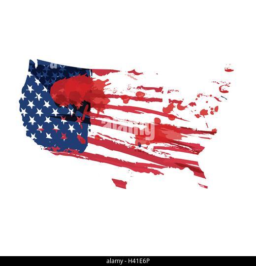 Usa Grunge Flag Map Stock Photos Usa Grunge Flag Map Stock - Usa map shape