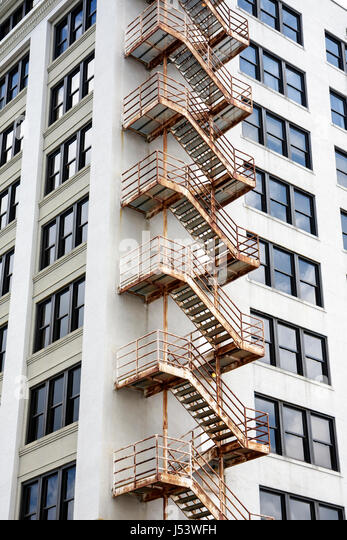 Nice Little Rock Arkansas External Fire Escape Stairs Building Exterior High  Rise Windows Symmetry Repeating   Stock