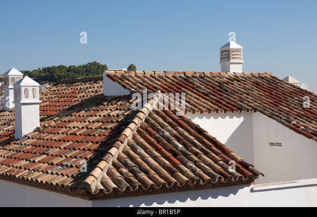 Delightful Close Up View Of Typical Red Spanish Roof Tiles   Stock Image
