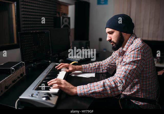 computer music mixing board stock photos computer music