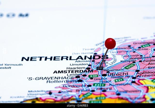 Map Pin Amsterdam Stock Photos Map Pin Amsterdam Stock Images - Amsterdam map in europe