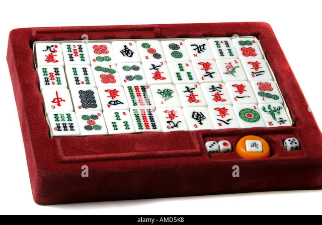 a mahjong set stock image
