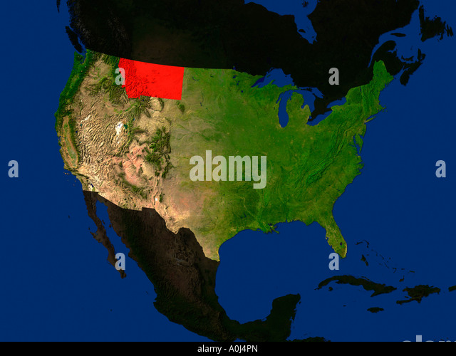 Map Satellite Geography Montana Stock Photos Map Satellite - Map of the us with mn highlighted
