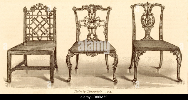 3 chairs chippendale stock image