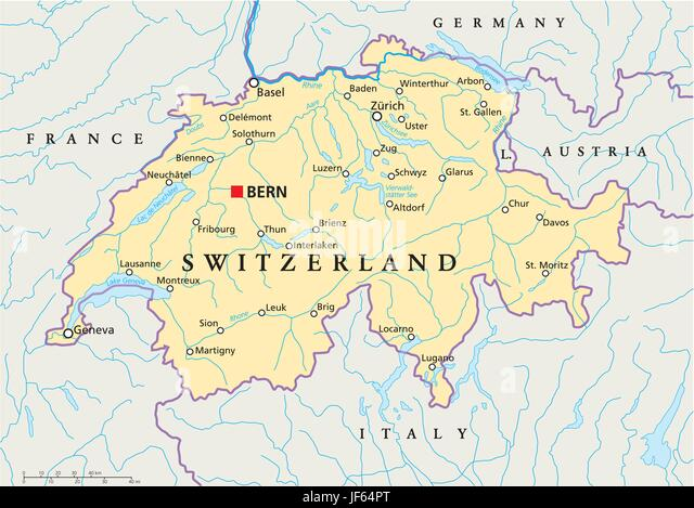 alps, switzerland, zurich, swiss, map, atlas, map of the world, bern, rhine, - Stock Vector