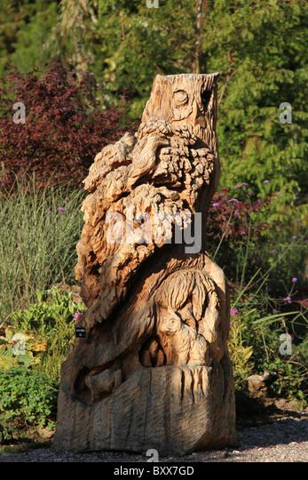 Owl carved wood sculpture stock photos