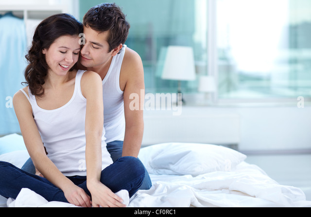 Young people spending time together expressing tenderness   Stock Image. Husband Flirting Wife Bedroom Romantic Stock Photos   Husband