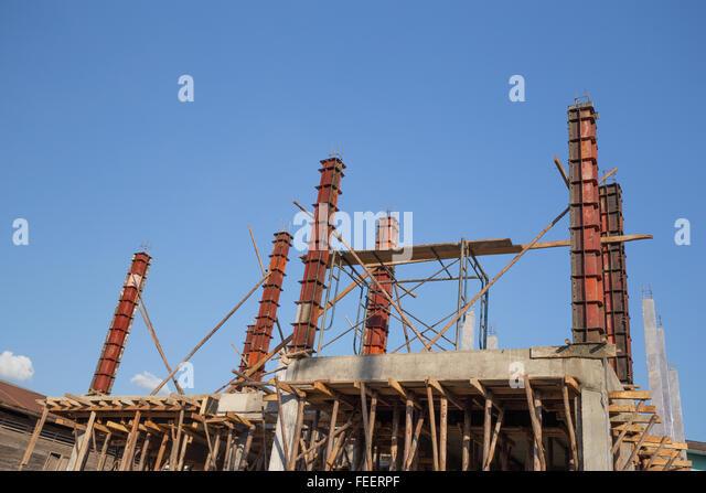 Metal pillars foundation building stock photos metal for Concrete pillars for foundation