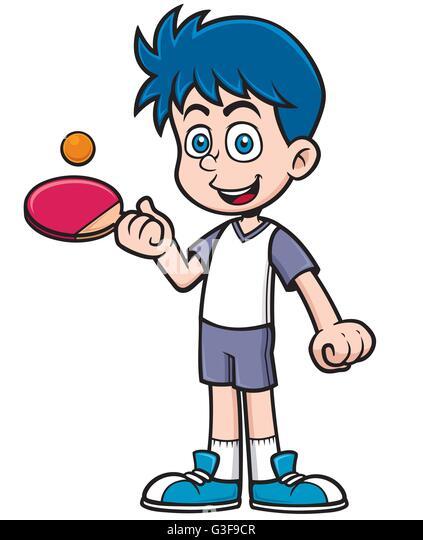 Table tennis player cartoon