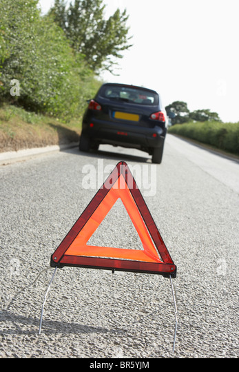 Broken Down Car Stock Photos: Warning Triangle Car Stock Photos & Warning Triangle Car