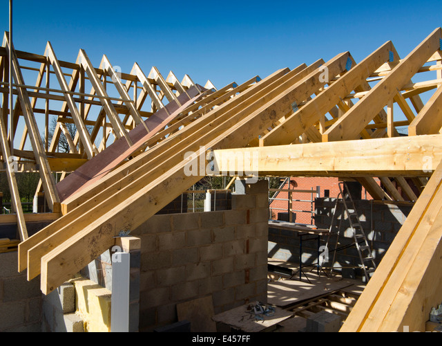 Beautiful Self Building House, Constructing Roof, Prefabricated Roof Trusses Fixed In  Position   Stock Image