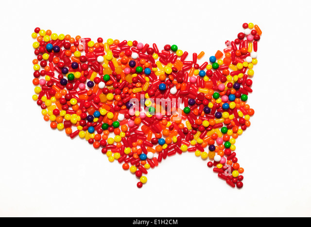 Food map america stock photos food map america stock images alamy candy map of the united states of america stock image sciox Gallery