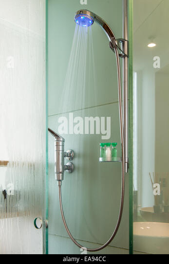 Shower stall stock photos shower stall stock images alamy - Glass shower head ...