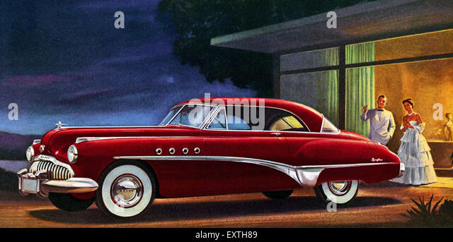 1940s usa american cars magazine advert detail stock image