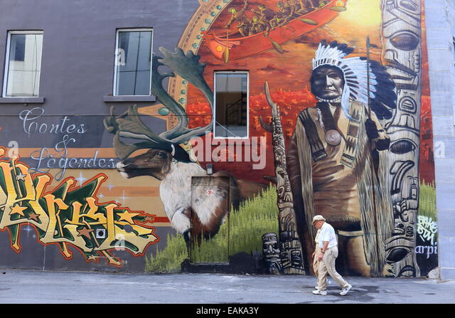 Superb Mural With A Native American Motif, Montréal, Quebec Province, Canada    Stock Image Part 13