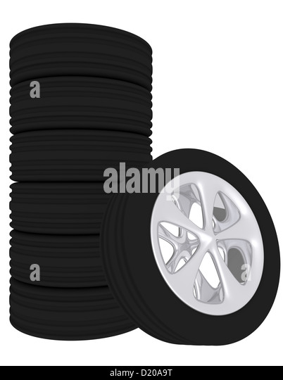 3d render of a set of stacked tires stock image