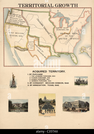 Map Of Acquired Territory For The United States Territorial Growth From 1492 To The Present