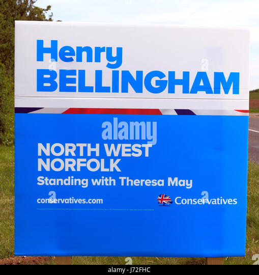 General Election UK, June 2017, Sir Henry Bellingham, Conservative candidate, North West Norfolk constituency, roadside - Stock Image