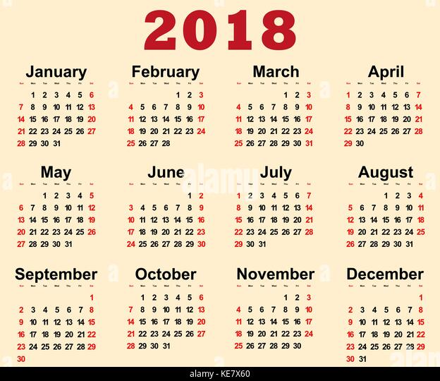 2018 Calendar Stock Photos & 2018 Calendar Stock Images ...