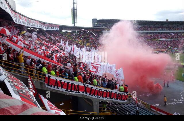 Santa Fe fans in the Campin Stadium, Bogota - Stock Image