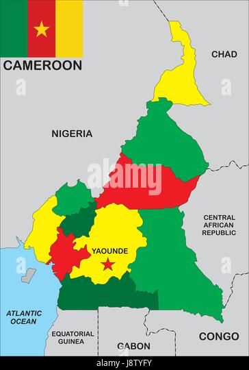 Cameroon map stock photos cameroon map stock images alamy cameroon map atlas map of the world political flag country gumiabroncs Images