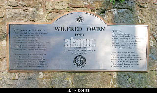futility wilfred owen Wilfred owen was born in 1893 in shropshire to a family of committed christians he was educated at the birkenhead institute and shrewsbury technical college he wanted to.