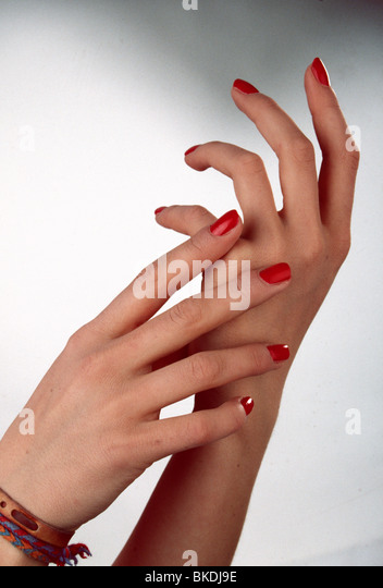 Mature Woman Red Nails Stock Photos & Mature Woman Red