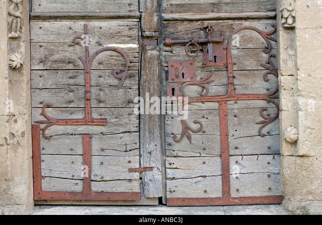 The Mailhat Romanesque Church Door With Its Remarkable Wrought Iron Strap  Hinges (France).