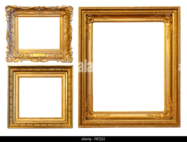 3 gold frames isolated over white background with clipping path stock image