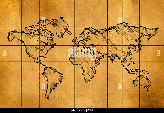 Line Drawing World Map : Line drawing world map stock photos