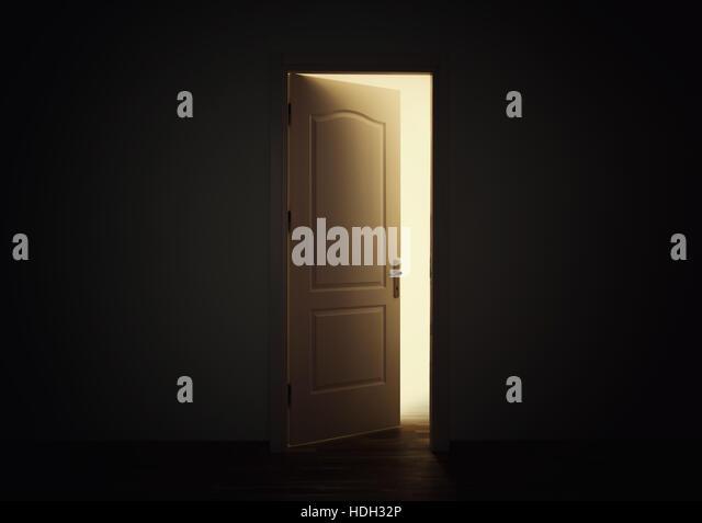 Open Door Dark Room dark room open door light stock photos & dark room open door light