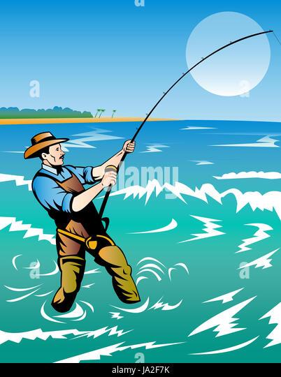 Illustration fishing stock photos illustration fishing for Fishing rod sun and moon