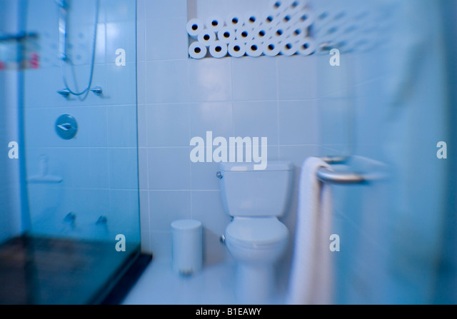 Modern Bathroom With Glass Doors And Shower Alaska United States Stock Image