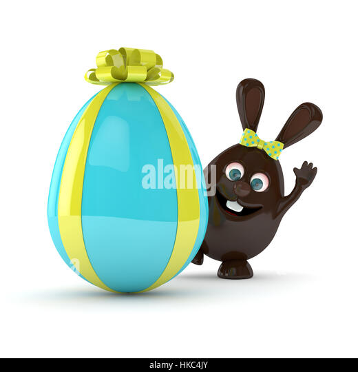 3d illustration easter bunny gift stock photos 3d illustration 3d rendering of easter chocolate bunny with present egg isolated over white background stock image negle Image collections