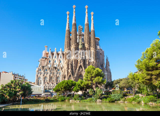 La Sagrada Familia church front view, designed by Antoni Gaudi, UNESCO, Barcelona, Catalonia (Catalunya), Spain - Stock Image