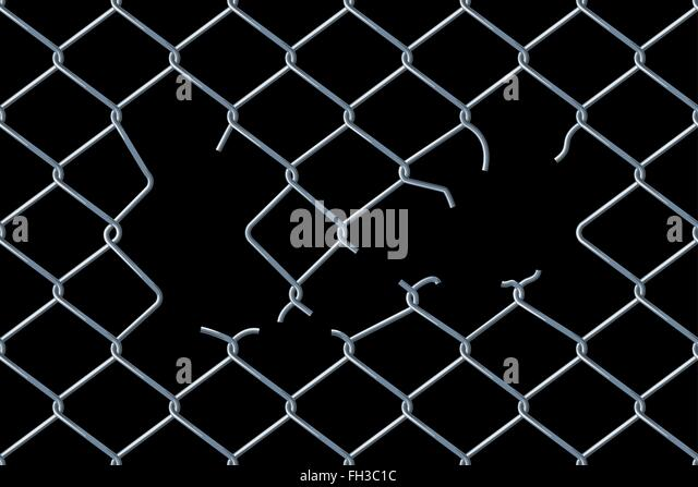 Broken Chain Link Fence Vector chain link fence stock vector images - alamy