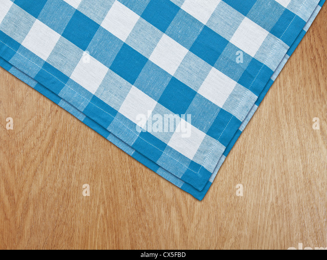 Wooden Kitchen Table With Blue Gingham Tablecloth   Stock Image