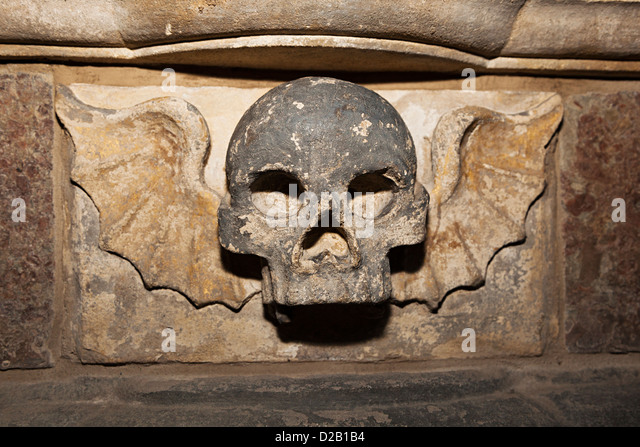Skull church on stone stock photos