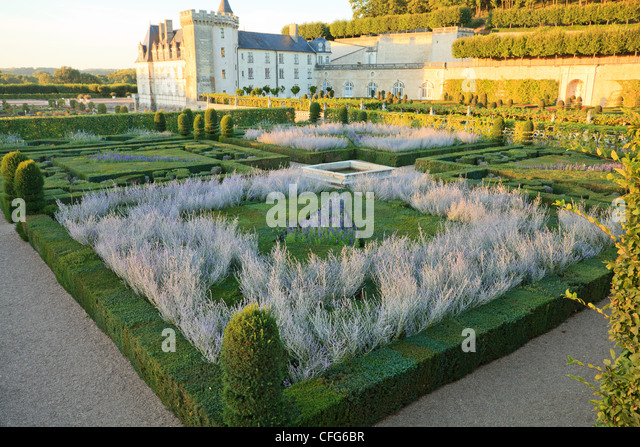 France, Gardens Of Villandry Castle, In The Foreground The U0027Music Gardenu0027 (