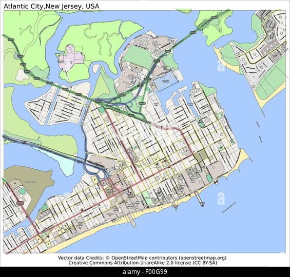 Atlantic City New Jersey Usa Country City Island State Location Map Stock Image