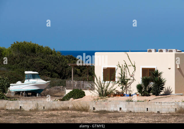 Typical White House Of Formentera. Es Calo De San Agusti Beach, Formentera  Island,